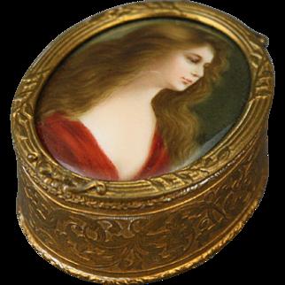 Antique Bronze French Trinket Box With Handpainted Signed Porcelain Portrait Plaque