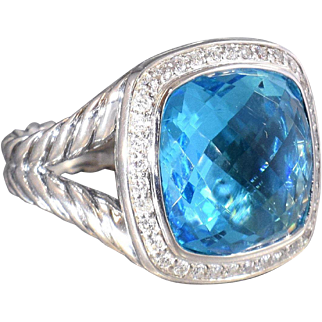 David Yurman Ring Blue Topaz and Diamond Cocktail Ring Statement Ring - DY 83