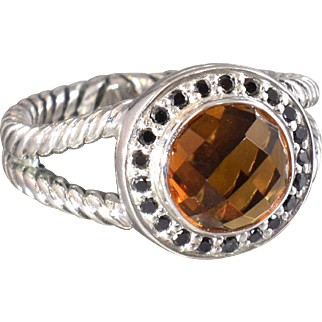 David Yurman Ring Citrine and Black Diamonds Cerise Halo Statement Ring Cocktail Ring - DY 85