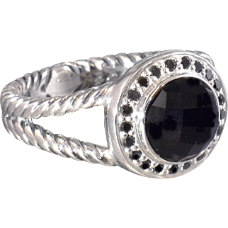 David Yurman Ring Onyx and Black Diamonds Cerise Halo Statement Ring Cocktail Ring - DY  86
