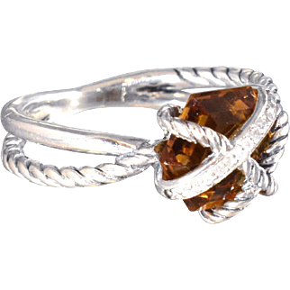 David Yurman Ring Citrine and Diamonds Cable Wrap Statement Ring Cocktail Ring - DY 87