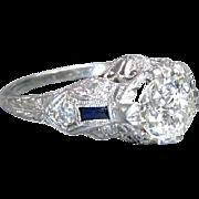 Vintage Art Deco 1920's Platinum Old European Cut Diamond Filigree Engagement Ring Wedding Ring - ER 408M-R