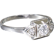 Art Deco Engagement Ring Vintage Engagement Ring with Old European Cut Diamond 18k White Gold Wedding Ring - ER 519M