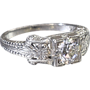 Vintage Engagement Ring Art Deco Engagement Ring with Old European Cut Diamond 18K White Gold Wedding Ring