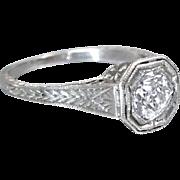 Vintage Art Deco 1920's Platinum Old Mine Cut Diamond Filigree Engagement Ring Wedding Ring - ER 607M