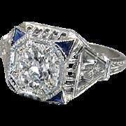 Vintage Art Deco 1920's 18K White Gold Old European Cut Diamond Filigree Engagement Ring Wedding Ring - ER 621M