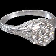 Vintage Art Deco 1920's Platinum Old European Cut Diamond Filigree Engagement Ring Wedding Ring - ER 629M