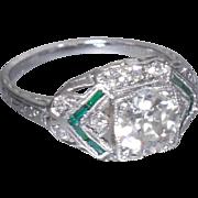 Vintage Art Deco 1920's Platinum Old European Cut Diamond Filigree Engagement Ring Wedding Ring - ER 633M