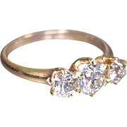 Antique Vintage Victorian 1880's 14K Yellow Gold Old European Cut 3 Stone Diamond Engagement Ring Wedding Ring - ER 635M
