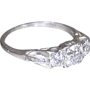 Vintage Art Deco 1920's Platinum 3 Stone Old European Cut Diamond Filigree Engagement Ring Wedding Ring - ER 636M