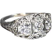 Vintage Art Deco 1920's 18K White Gold Old European Cut Diamond Filigree Engagement Ring Wedding Ring - ER 638M