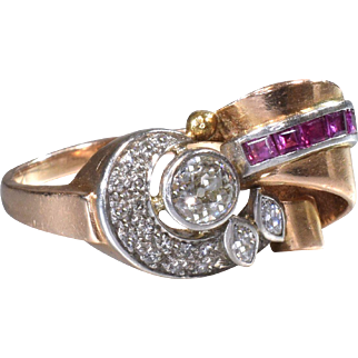Diamond Cocktail Ring Vintage Retro Pink Gold Ring Vintage Diamond Cocktail Ring Statement Ring - R 107S