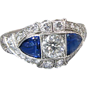 Vintage Art Deco 1920's Platinum Old European Cut Diamond Filigree And Synthetic Sapphire Engagement Ring Wedding Ring - R 112M