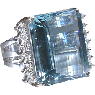 Aquamarine Cocktail Ring Retro Aqua and Diamond Cocktail Ring Diamond Statement Ring 18K White Gold - R 253S