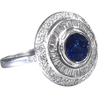 Diamond Cocktail Ring Vintage Sapphire Ring Sapphire and Diamond Statement Ring Platinum Ring - R 363S