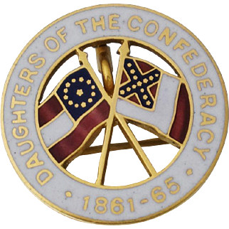 Daughters of the Confederacy 14K Enamel Pin or Pendant UDC