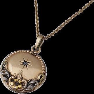 Art Nouveau Diamond 14K & Platinum Locket Necklace