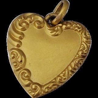 Art Nouveau 14K Puffy Heart Pendant or Charm