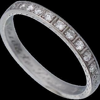 Art Deco Platinum Diamond Wedding Band Dated 1930 Size 8.5 .25tw