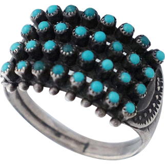 Zuni Petit Point Turquoise Sterling Native American Ring Sz 6.5