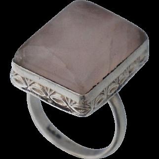 Vintage Sterling Rose Quartz Ring Sz 7.25