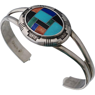 Relios Sterling Turquoise Onyx Malachite Lapis Mosaic Cuff Bangle Bracelet Native American Style