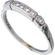 Art Deco Platinum Diamond Band Ring Sz 5.5