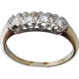 14K Platinum .33 ct 1/3 ct Diamond Band Ring Sz 6