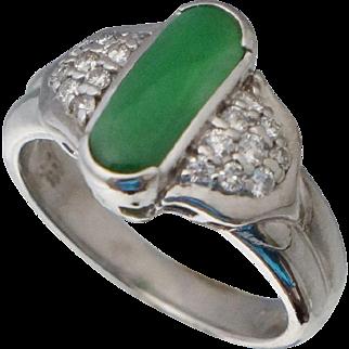 Jade & Diamond Platinum Ring 1.17 cttw Sz 6