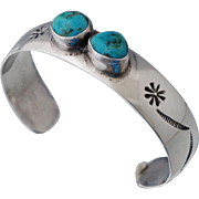 Heavy Native American Sterling Signed Turquoise Cuff Bangle Bracelet