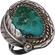 Native American Sterling Turquoise Ring Sz 9