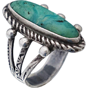 Old Pawn Native American Sterling Turquoise Ring Sz 6