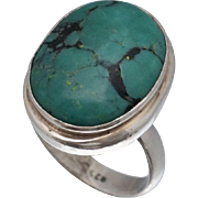 Sterling Cabochon Turquoise Ring Sz 9