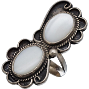 Native American Mother of Pearl Sterling Ring Sz 7.75