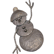 Sterling Snowman Brooch Pin