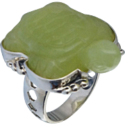 Amy Kahn Russell Sterling Nephrite Turtle Ring Sz 7.25
