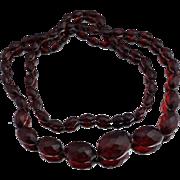 "Art Deco Faceted Cherry Amber Bakelite Necklace 33"""