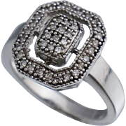 Vintage Sterling Diamond Ring Sz 8.25