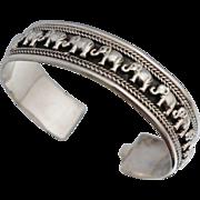 Vintage Sterling Elephant Cuff Bracelet Bangle
