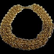 "Vintage Goldtone Faux Pearl Bib Necklace Gold Tone Retro Wide 21"""