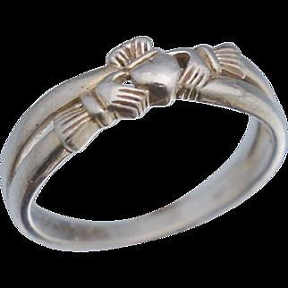 Vintage Calddagh Sterling Ring Sz 7 Solvar