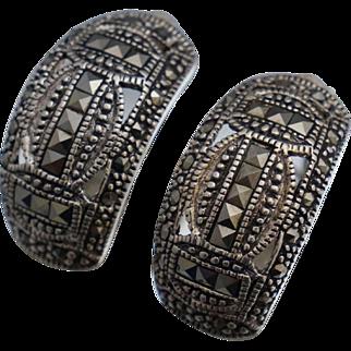 Vintage Sterling Marcasite Half Hoop Earrings