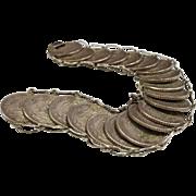 Vintage Mexico 925 Sterling  Silver  Coin 20 Centavos  Bracelet
