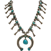 Vintage  Original Old Pawn Squash Blossom  Sterling Silver & Turquoise Necklace With Fluted  Beads