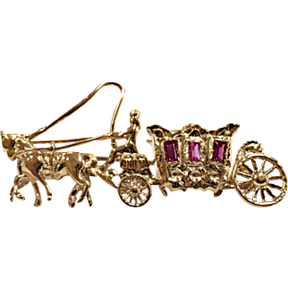 Vintage Solid 18 Karat Yellow Gold Ruby Horse Drawn Carriage Brooch/Pin