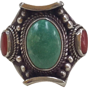 Vintage 925 Sterling Silver Ring With Turquoise And Coral