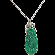 Beautiful Vintage  Carved Chinese Grade A Jadeite Jade Pendant  With Platinum And  Diamonds!