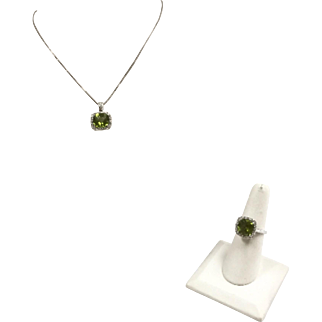 Beautiful 14K White Gold And Cushion Cut  August Birth Stone Natural  Peridot Necklace And Ring Set With Diamond Accents!!!