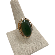 Vintage 14 Karat Yellow Gold Ring With  Oval Jade Cabochon