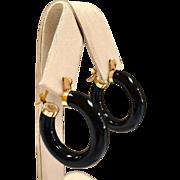 Vintage 14 Karat Yellow Gold And Black Onyx Hoop Earring!!!